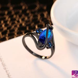 انگشتر طلای سیاه با نگین آبی طلا طلا و جواهری احسان فروش اقساطی طلا
