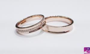 حلقه ازدواج رزگلد|طلا و جواهری احسان|فروش اقساطی طلا