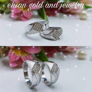 حلقه ازدواج نگین دار|طلا|طلا و جواهری احسان|فروش اقساطی طلا