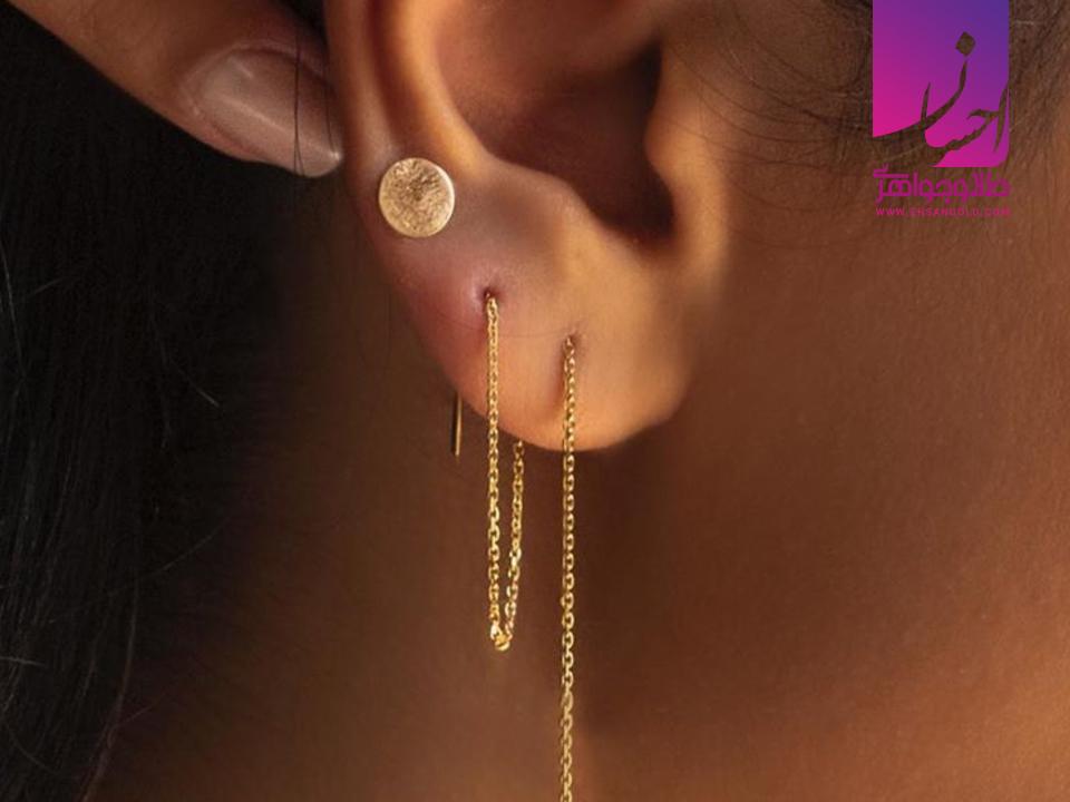 گوشواره بخیه ای|طلا|طلا و جواهری احسان|فروش اقساطی طلا