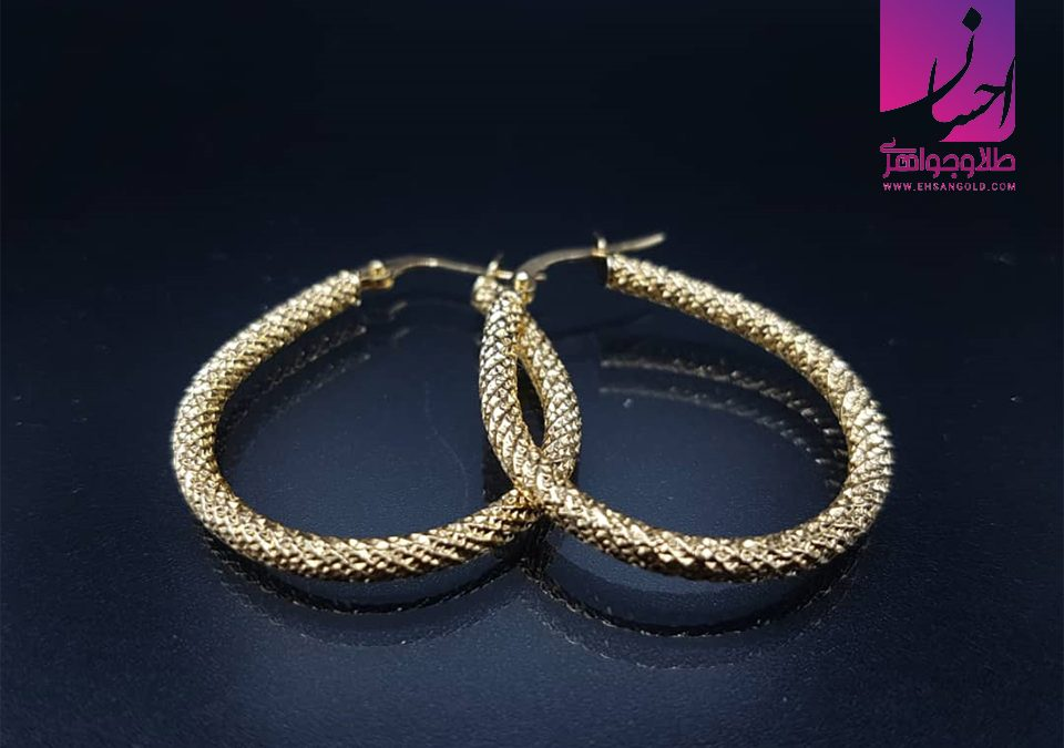 گوشواره حلقه ای|طلا|طلا و جواهر احسان|فروش اقساطی طلا