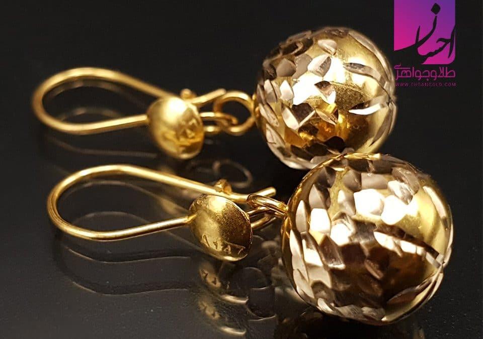 گوشواره گوی نشان |طلا|طلا و جواهر احسان|فروش اقساطی طلا