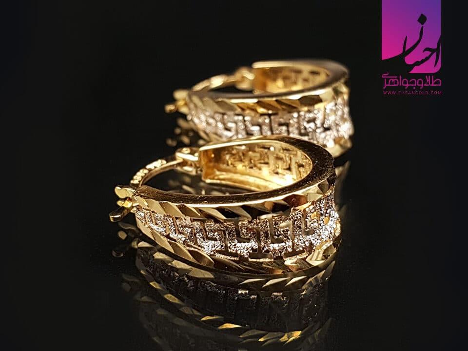 گوشواره طلا ورساچه تراش سنگی | طلای اقساطی یا زیورآلات نقره | طلا|طلا و جواهر احسان|فروش اقساطی طلا