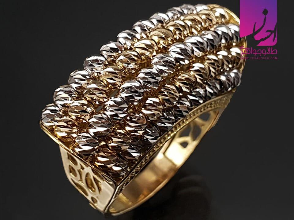 انگشتر طلا گوی و سنگ | طلا|طلا و جواهر احسان|فروش اقساطی طلا
